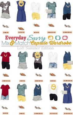 Here is a new summer capsule wardrobe with all with items from Loft. This capsule includes a dress and fun shorts that can be dressed up or down. You will be ready for almost any summer activity with this summer capsule wardrobe. It is perfect for traveling as well. style, collection, idea