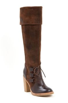 Charles by Charles David Fiero Tall Heeled Boots in Brown Calf Suede - Beyond the Rack
