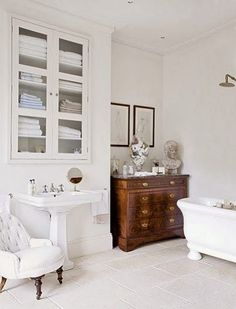Decorating with antique furniture cabinets commodes tables dressers secretary desks in the bathroom ideas tips luxury interior design powder room White Bathroom, Modern Bathroom, Master Bathroom, Parisian Bathroom, Lavender Bathroom, Bathroom Vintage, Vanity Bathroom, Bathroom Bath, Vintage Vanity