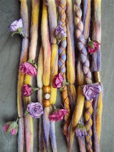 Removable Wool Tie-dye dreads by Purple Finch! Set of 10 total Hair Extensions  Set Includes: 8 Unwrapped wool Tie-dyed dreadlocks 2 x-cross wrapped tie-dye dreadlocks 3 Wood Bead 1 Gold Tone