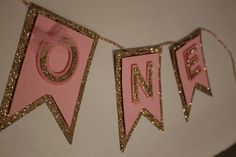 Pink & GOLD birthday party banner Garland First by PoshMyParty ...