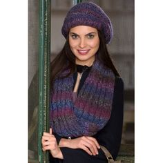 Slouchy Hat & Reversible Cable Cowl  in Red Heart Boutique Treasure - LW4189 | Knitting Patterns | LoveKnitting