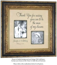 Father Of The Groom Gift In Laws Thank You Mother Inlaws Wedding Photo Frame For Raising 16x16