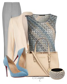 """C.Louboutin Baby Blue"" by ccroquer ❤ liked on Polyvore featuring Reiss, Rachel Zoe, NIC+ZOE, Michael Kors and Christian Louboutin"