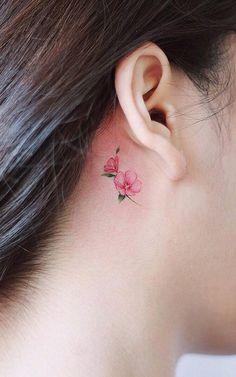 Tattoo, tiny flower tattoos, small flower tattoos for women, mini tattoos, Mini Tattoos, Tiny Flower Tattoos, Flower Tattoo Designs, Body Art Tattoos, Ear Tattoos, Tattoo Flowers, Small Tattoos, Circle Tattoos, Flower Tattoo Ear