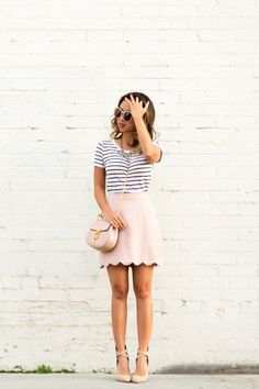 petite fashion blog, lace and locks, los angeles fashion blogger, scallop mini skirt, pink mini skirt, chloe mini drew, cute stripe outfit, spring fashion, blush outfit