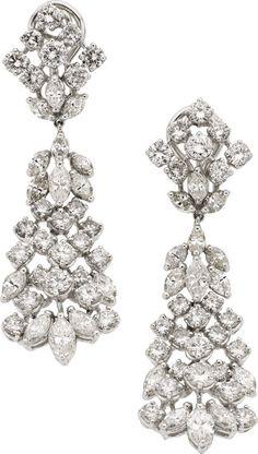 Estate Jewelry:Earrings, Diamond, Platinum Earrings. ... Image #1  58444