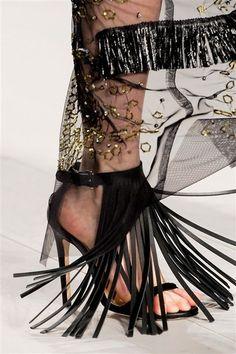 Mario Schwab Black #Fringe Sandal Spring 2013 #Shoes #Heels