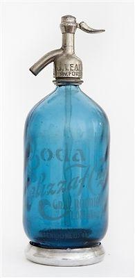 1 Liter Blue Vintage Argentine Seltzer Bottle with Metal Foot
