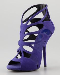Giuseppe Zanotti Butterfly Cutout Suede Sandal, Purple - Neiman Marcus Spring 2013: Gladiators