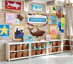Nautical Decorating Ideas for Kids Rooms from Pottery Barn Kids - ocean sea beach shark starfish stingray crab octopus tortoise mermaid baskets