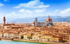 Download wallpapers Florence, 4k, Arno River, Duomo, panorama, Santa Maria del Fiore, Tuscany, Italy, Europe