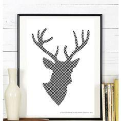 cadre t te de cerf d co scandinave 13cmx18cm d coration et d co. Black Bedroom Furniture Sets. Home Design Ideas