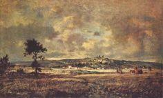 View of the plain of Montmartre X effect of storm - Theodore Rousseau Theodore Rousseau, Barbizon School, Art Database, Realism Art, Sculptures, Watercolor, Landscape, Drawings, Artist