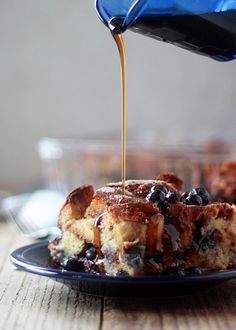 Cinnamon Blueberry Overnight French Toast recipe - cinnamon, vanilla, blueberries ... yum. Make-ahead recipes like this have been my salvation for many a holiday - and we especially love this one.