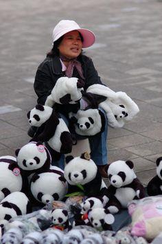 Panda gear outside the zoo in Taipei, Taiwan