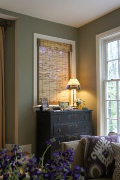 designed by Jean Molesworth Kee/The Painted Room Walls BM Dry Sage/ Trim + Ceiling BM Linen White