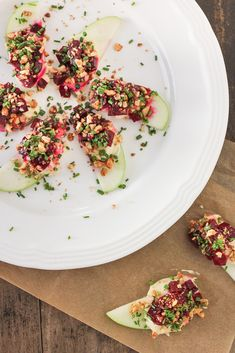 Deconstructed #Vegan Apple and Beet Salad with Cashew Cheese and Candied Walnuts via Luminous Vegans- Follow @cawalnuts and re-pin with hashtag #sosimplesogood to be entered for a chance to win $500!