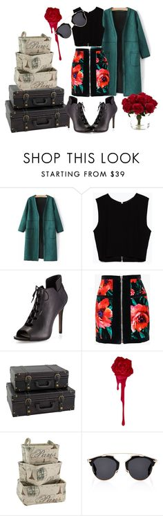 """roses are red."" by cocoahead ❤ liked on Polyvore featuring Zara, Pour La Victoire, Balmain, Aspire Home Accents, Christian Dior, Nearly Natural, polyvoreeditorial, fashionhoroscope, stylehoroscope and yoins"