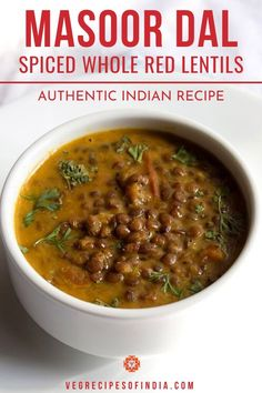 Sabut Masoor ki Dal Recipe with step by step photos - North Indian style spiced, tasty and quick dal made from Whole Red Lentils Lentil Recipes Indian, Easy Indian Recipes, Easy Healthy Recipes, Vegetarian Recipes, Cooking Recipes, Dahl Recipe, New Recipes For Dinner, Lentil Dishes, Indian Cuisine