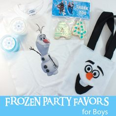 Here is our collection of fun DIY Frozen Party Favors for Boys including DIY Olaf Shirts, Olaf Party Favor Bags, Troll Slime and Thank You Cookies.