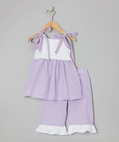 Great price at $16!! White & Purple Tunic & Capri Pants - Toddler & Girls on zulily today!