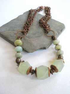 Gemstone Necklace, Amazonite, New Jade And Copper Necklace