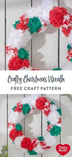 Crafty Christmas Wreath free craft pattern in Red Heart Fur yarn. This fluffy wreath is an easy way to craft for Christmas! Make one for your home to spread holiday happiness. Christmas Time, Christmas Wreaths, Christmas Crafts, Christmas Ideas, Hanger Crafts, Soft Blankets, Craft Patterns, Burlap Wreath, Free Crochet