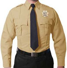 eed20cc6151e First Class Polyester Long Sleeve Men's Uniform Shirt Tan: Convenient  Velcro pleated patch pockets with scalloped flaps create a crisp image.