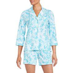 Lauren Ralph Lauren Classic Printed Pajama Set ($62) ❤ liked on Polyvore featuring intimates, sleepwear, pajamas, blue, pj tops, blue boxer, short boxer, lauren ralph lauren and cotton sleepwear
