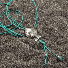 Fish Necklace Long Blue Thread Necklace Sterling by AllAboutSeas