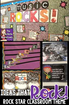 Rock star music classroom decorations.  Great ideas with products that are easy to print and post.  This bundle contains bulletin boards, songs of the week, proficiency scale, word wall, focus wall posters and more!