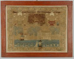 """Pennsylvania pictorial sampler c. 1815 signed at top Elizath Jones Remington and inscribed """"Her Work in her 8th year."""""""