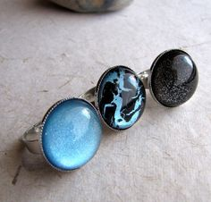 Blue Holographic Rings