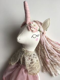 "Reserved Unicorn Doll - 17.5"" ish Handmade cloth heirloom doll"