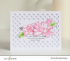Anna's CAS card is perfect used with Lotus Stamp Set. Just beautiful!!! www.altenew.com