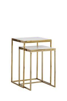 Ellos: Settbord i to deler, et større og et mindre. Metallstamme og plate av marmor.  Lite bord: 36x36 cm, høyde 51 cm.  Stort bord: 41x41 cm, høyde 61 cm.