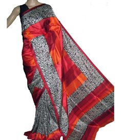 Red Handloom Block Printed Murshidabad Silk Saree---------------------- It's true that saree is the most loving and beautiful feminine style of Indian women dresses. It explores the beauty of Indian tradition in a so loved styles and trends. Every woman would love to clad in this loving hand painted and block printed sailk saree.--------------Sarees from luxurionworld.com
