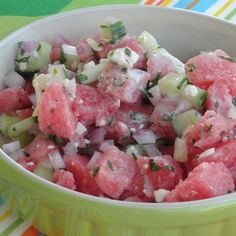 "Dog-Days Watermelon Salad ""We thought it was wonderful. Very refreshing. Watermelon Salad Recipes, Sweet Watermelon, Cucumber Recipes, Fruit Recipes, Summer Recipes, Cooking Recipes, Healthy Recipes, Fruit Salads, Desert Salads"