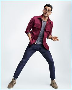 Arthur Kulkov wears Steven Alan for Gap x GQ Best New Menswear Designers in America All-Stars collection.