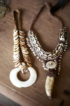 Two tribal necklaces from Sepik River region in Papua New Guinea.