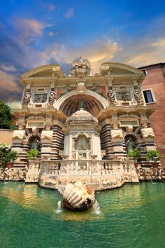Villa d'Este, Tivoli, Lazio, Italy (mainly 1560 - 1569). 51 fountains and nymphaeums, 398 spouts, 364 water jets, 64 waterfalls, 220 basins, fed by 875 meters of canals, channels and cascades, and all working entirely by the force of gravity, without pumps.