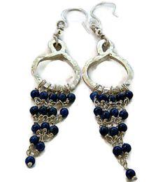 Lapis Lazuli  925 Silver Hoop Chandelier Dangle Earrings