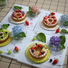 並べてみる。(๑ت๑)♡ #ミニチュア#ミニチュアフード #リースタルト#紫陽花#miniature#miniaturefood