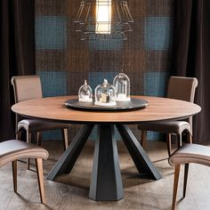 Cattelan Italia Eliot Round Table, Wood or Glass
