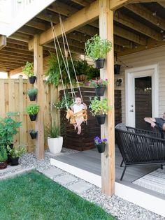 Modern design ideas for a small backyard // beautiful small backyard // DIY rock landscaping around a gray Trex platform deck // Hanging herbs // DIY outdoor cat perches // DIY HVAC unit screen // sma Small Backyard Design, Backyard Patio Designs, Small Backyard Landscaping, Landscaping With Rocks, Garden Design, Landscaping Ideas, Inexpensive Landscaping, Narrow Backyard Ideas, Small Deck Designs