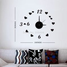 Free Shipping DIY Modern Fashion Creative Wall Clock Paste EVA Paste Number and heart Decoration Clock