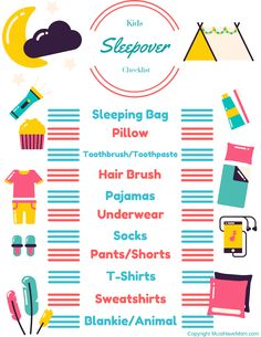sleepover hacks Free printable sleepover checklist for kids! Kids can pack their bags with this sleepover packing list! Teen Sleepover, Fun Sleepover Ideas, Sleepover Activities, Activities For Girls, Sleepover Party, Games For Girls, Kids Checklist, Travel Checklist, Packing List For Travel