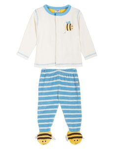 Frugi - Organic Cotton - Toasty Toes Outfit - Cornish Blue - Baby Gift Works  - 1