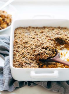 Sweet Potato Casserole with a crunchy brown sugar topping that will give you life. A Thanksgiving recipe classic!   pinchofyum.com